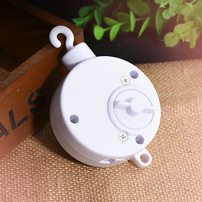 Baby Mobile Crib Bed Bell Kid Toy Windup Movement Music Box Toy White ABS
