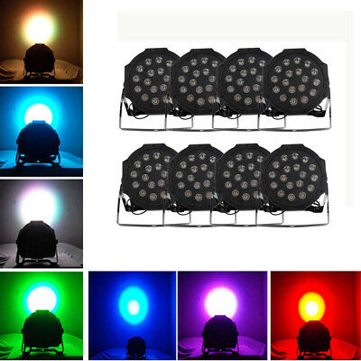 8 X 18 LED RGB Light PAR CAN DJ Stage DMX Lighting for Wedding Party Uplighting