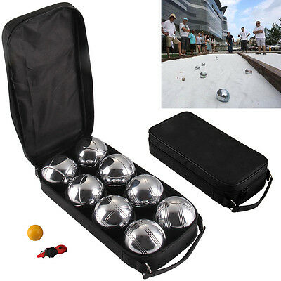 8 Steel French Boules Set Petanque Ball Outdoor Garden Game Free Carry Case Uk