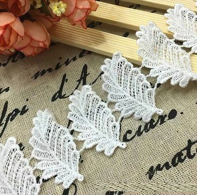 Elegant Leaves Embroidered Lace Sewing Trim DIY Craft Appliques 1 Yard