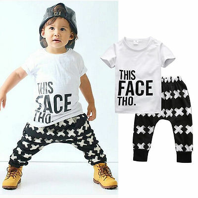 UK Summer Baby Boy Toddler Casual T-shirt Tops+Harem Pants 2pcs Outfits Set 0-5Y