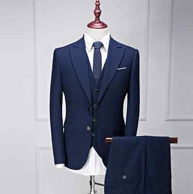Mens 3 Piece Royal Blue Stripe Prince Of New Check Suit Tailored Fit Vintage New