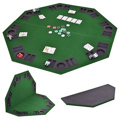 """48"""" Octagon 8 Player Folding Poker Table Top & Carrying Case Green Portable New"""