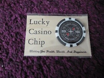 Lucky Casino Chip + Wallet Card*good Luck Charm*novelty Gift*black 100 Poker