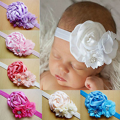 Baby Girl Kids Toddler Infant Lace Flower Elastic Hair Band Headband Headwear