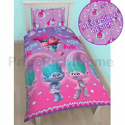 Official Trolls Glow Single Duvet Cover Set Rotary Kids Bedding New Free P+P