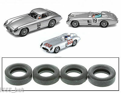 Genuine Scalextric W9555 Tyres 4 Pack 'New' Mercedes 300 SLR C2814 C3024 C2914