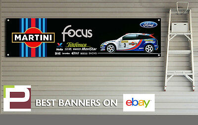 Ford Focus RS Mk1 Rally Car Banner XL for Workshop, Garage, Martini Colin McRae