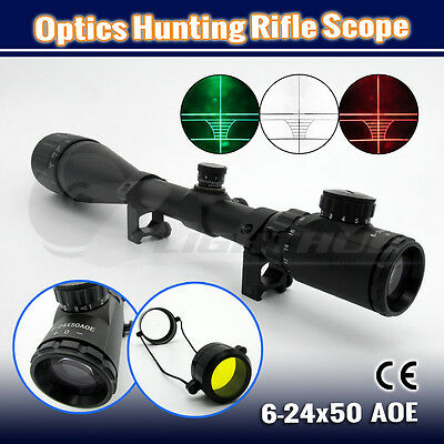 6-24x50 AOEG Optics Hunting Rifle Gun Scope Crosshair Tactical Shooting Sight