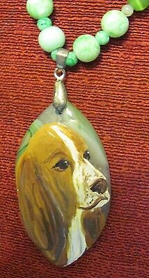 Basset Hound hand painted on a green, marquis cut Agate pendant/bead/necklace