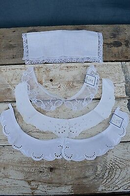 Antique Vintage Lace Cotton Crochet Collars Dress Inserts Trim x 4 Items