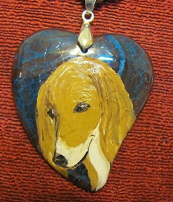 Saluki hand painted on heart shaped onyx Agate pendant/bead/necklace