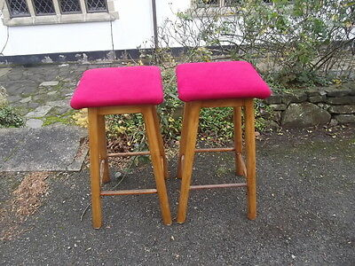 Lovely Pair of Vintage Beech/Wood Bar/Kitchen Stools with Red Upholstered Seats