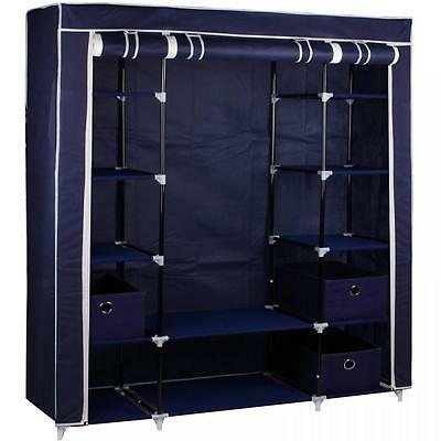 Large Blue Fabric Canvas Wardrobe With Hanging Rail Shelving Clothes Storage