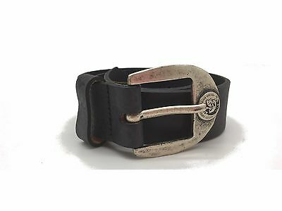 "Diesel Boys Belt Genuine Leather Kids Bebri Black Size 19""-25"" NEW"
