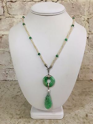 1920's Deco/Retro  Jadeite and Natural Seed  Pearl Satour Necklace