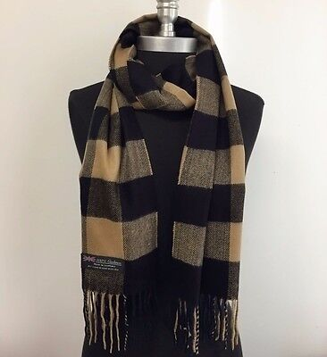 New 100% Cashmere Scarf Black/Camel Check Plaid Soft Wool Wrap