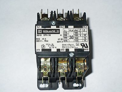 1 pc Square D DP Contactor, 8910DPA33 V02, 30 Amp, 600V, 3 Pole, Used