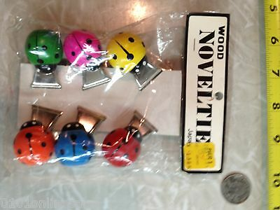 6 New In Package Vintage Japan Colorful Wood Ladybug Clips