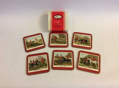 Vintage Pimpernel Coasters Set of 6 English Fox Hunting Square