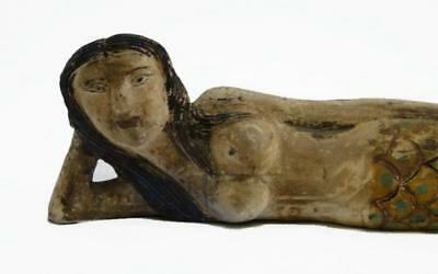 Wooden Hand Carved Mermaid vintage folk art painted Nautical Sculpture