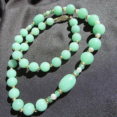 """Genuine 17"""" Jade Jadeite Necklace W/ Seed Pearl Gold Bead Spacers 14K Gold Clasp"""