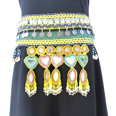 Large Gypsy Kuchi Embroidered Fabric Waist Belt Metal Coins Glass Beads Mirrors