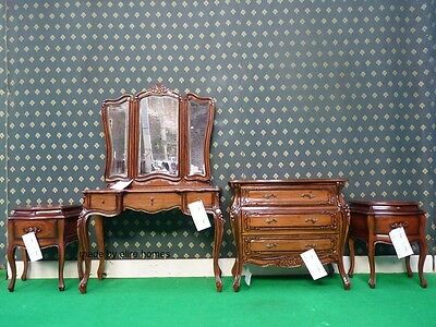 BESPOKE Mahogany  Five piece Rococo bed french wood set Dressing table bedsides