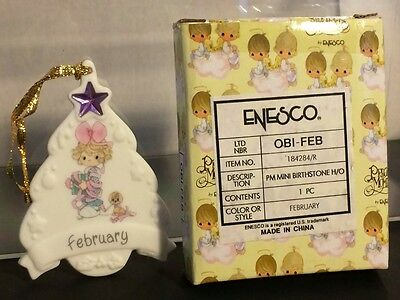 Enesco Precious Moments Mini Birthstone Christmas Tree Ornament February NIB