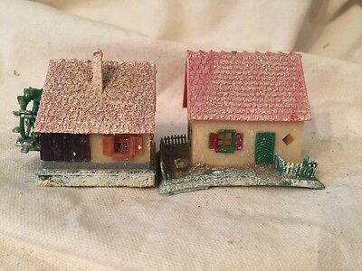2 Vintage MICA PUTZ Hard Plastic Christmas Houses NOVELTY HOUSE-Japan