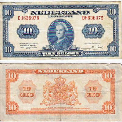 1943 10 Gulden Banknote from the Netherlands in VF-EF Condition.
