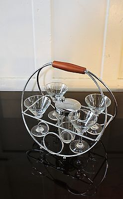 Vintage Cocktail Shaker, 4 Martini Glasses in Caddy