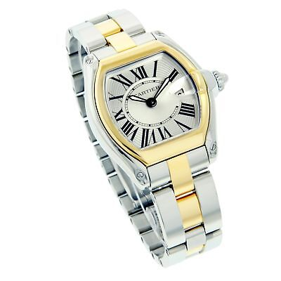 Cartier Ladies Two-Tone ROADSTER Silver Roman Gold Bezel Swiss Watch W62026Y4