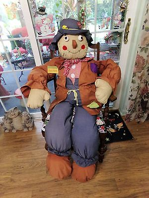 Vintage Life Size Stuffed Country Scarecrow With Floppy Hat 5 Feet Tall
