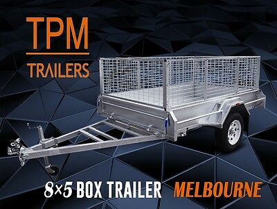 8x5 Box Trailer 900mm Cage Fully Welded Hot Dip Galvanized Tilting Melbourne