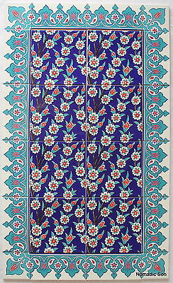 Tile panel set (24 pieces) #2 Turkish Iznik Ceramic Tiles Feature wall