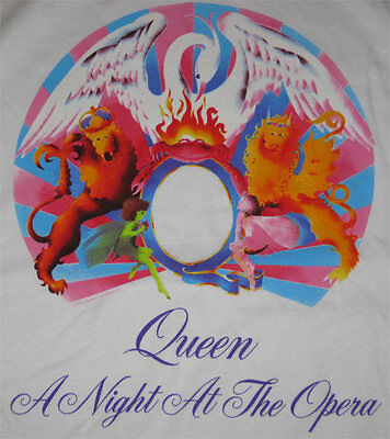 Queen A Night At The Opera **RARE** Blue RINGER shirt VTG Deadstock Rock pop