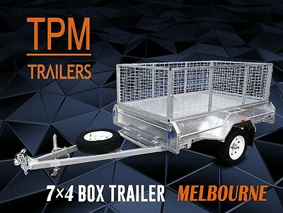 ☏ 7x4 box trailer With 900mm Cage ! Hot dip Galvanised Tilting Melbourne