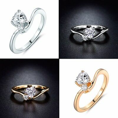 White Heart & Round Lab Diamond Wedding Rings Jewelry For Women Size 5/6/7/8/9