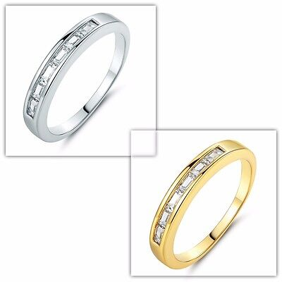 White Diamond-cut Couple Band Rings Engagement Jewelry Silver/Gold Tone Size 5-9