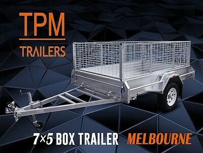 7x5 Trailer with 900mm Cage Fully Welded Hot Dip Galvanized Tilting Melbourne
