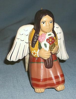Novica Andean Angel Clay Highlands Holiday Christmas Ornament Lady Flowers Peru