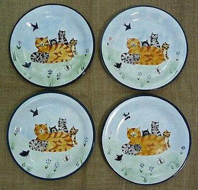 "Creatively Yours Whiskers & Whimsy Karen Dealwis Cat Plates 10.5"" Set of 4 EUC"