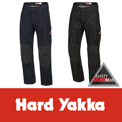 Hard Yakka Denim Jeans Legends ALL SIZES Cotton Blue Black Work Pants Y03041