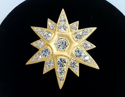 Large Rhinestone Brooch Pin Signed MOD Faceted Stones Matte Goldtone Back EUC