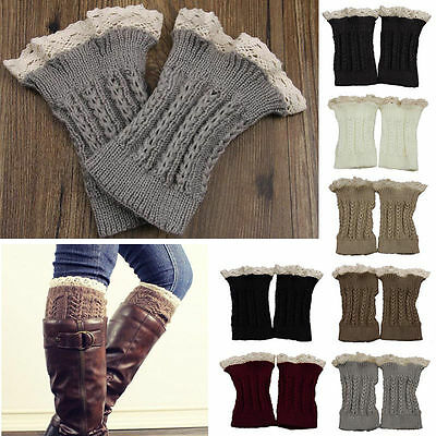 Lady Womens Crochet Knit Lace Trim Leg Warmers Cuffs Toppers Boot Socks UK Stock