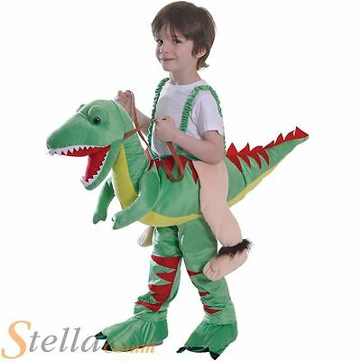 Kids Dinosaur Riding T-Rex Step In Boys Fancy Dress Costume Outfit