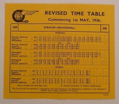 Western National May 1936 Route 230 Stroud - Paganhill - Whiteshill Timetable