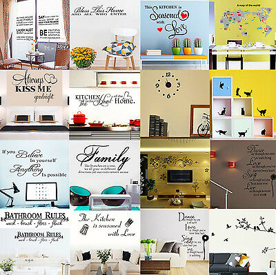 Family DIY Removable Art Vinyl Quote Wall Stickers Decal Mural Home Kids Decor L