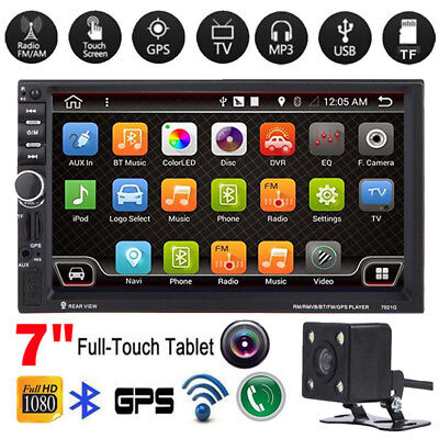 """CAMERA+7"""" HD Double 2 Din Car MP5 Player Bluetooth Touch Screen Head Units GPS"""
